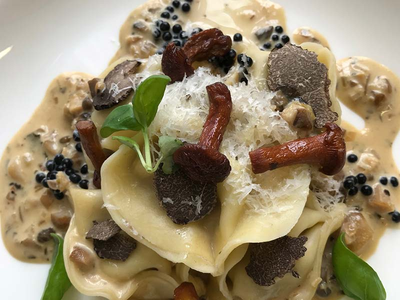 Truffle and Pecorino ravioli with truffle cream sauce