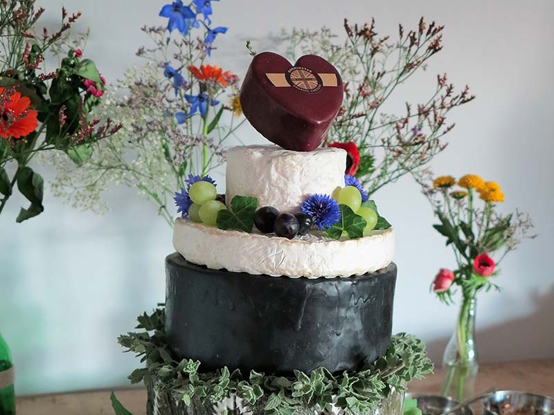 Our 8-layer wedding cake made from locally sourced cheese