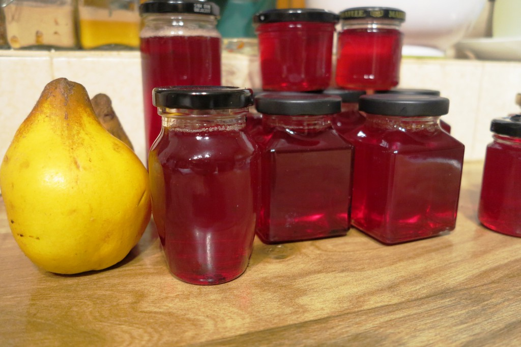 Quince jelly flavoured with lemon scented pelargonium leaves